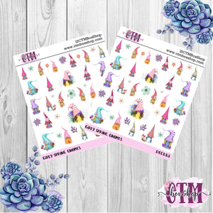 Girly Spring Gnomes Stickers   Character Stickers   Planner Stickers   Deco Stickers