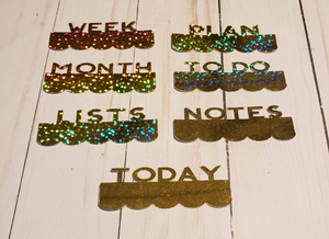 Page Toppers / Word Toppers / Page Marker or Dashboards Toppers / Word Tabs / Set of 7 Toppers / Gold Holo