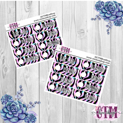 Green/Pink/Blue Tiger Date Covers   Date Cover Stickers   Planner Stickers   Weeks Stickers   Date Stickers