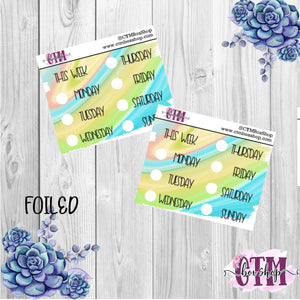 Green Swirl Foiled Date Covers   Date Cover Stickers   Planner Stickers   Weeks Stickers   Date Stickers