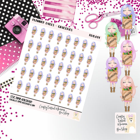 Grocery Shopping Dolls Stickers   Character Stickers   Planner Stickers   Functional Stickers   Deco Stickers