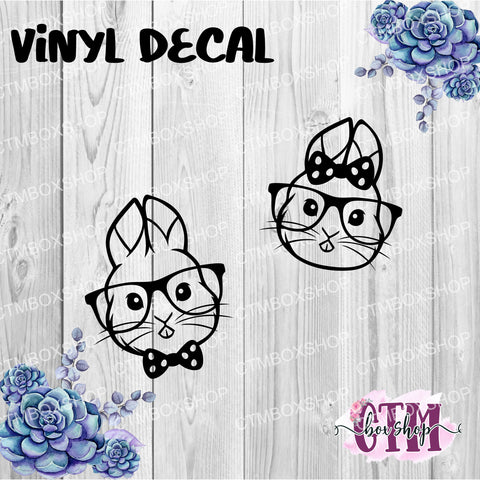 Hipster Bunnies  Vinyl Decal