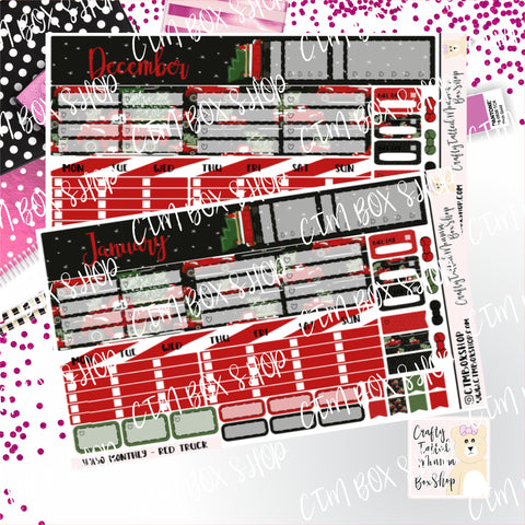 Red Truck Hobonichi Monthly Sticker Kit   Monthly Sticker kit   Hobonichi Weeks   Hobonichi Stickers    Sticker Kit   Monthly View