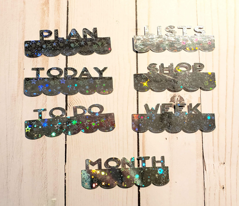 Page Toppers / Word Toppers / Page Marker or Dashboards Toppers / Word Tabs / Set of 7 Toppers / Holo Stars