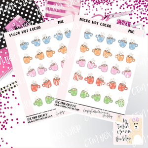 Micro Sticker Sheet  Hot Coco   Planner Stickers   Mini Planner Stickers   Micro Planner Stickers
