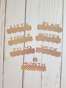 Page Toppers / Word Toppers / Page Marker or Dashboards Toppers / Word Tabs / Set of 7 Toppers / Gold and Blush Diagonal Stripes
