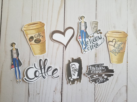 Monday Coffee Die Cuts / Coffee Die Cuts / Light Skin Set / Cardstock Die Cuts / Die Cuts