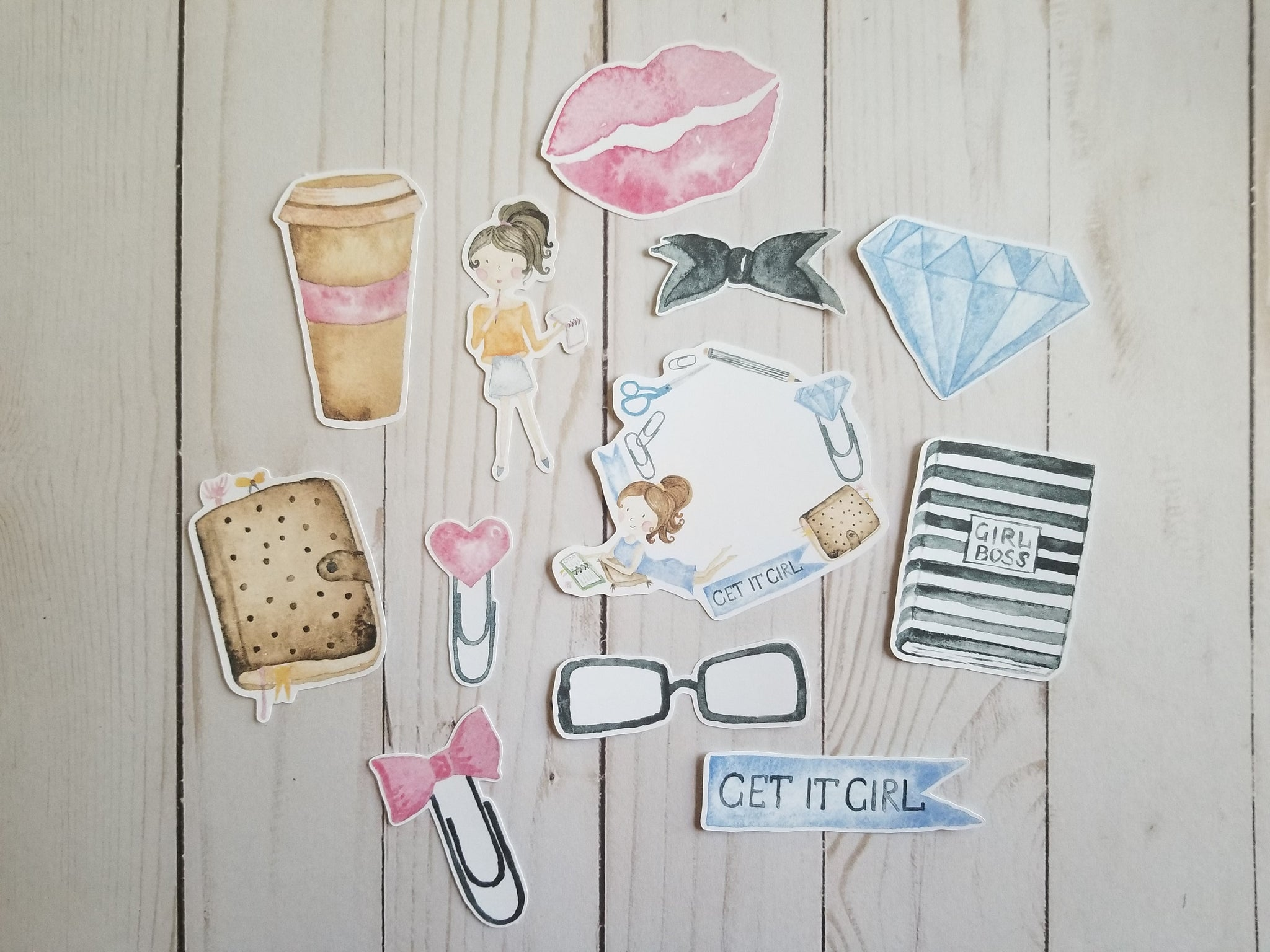 Planner Girl and Her Accessories Die Cuts / Coffee Die Cuts / Cardstock Die Cuts / Die Cuts