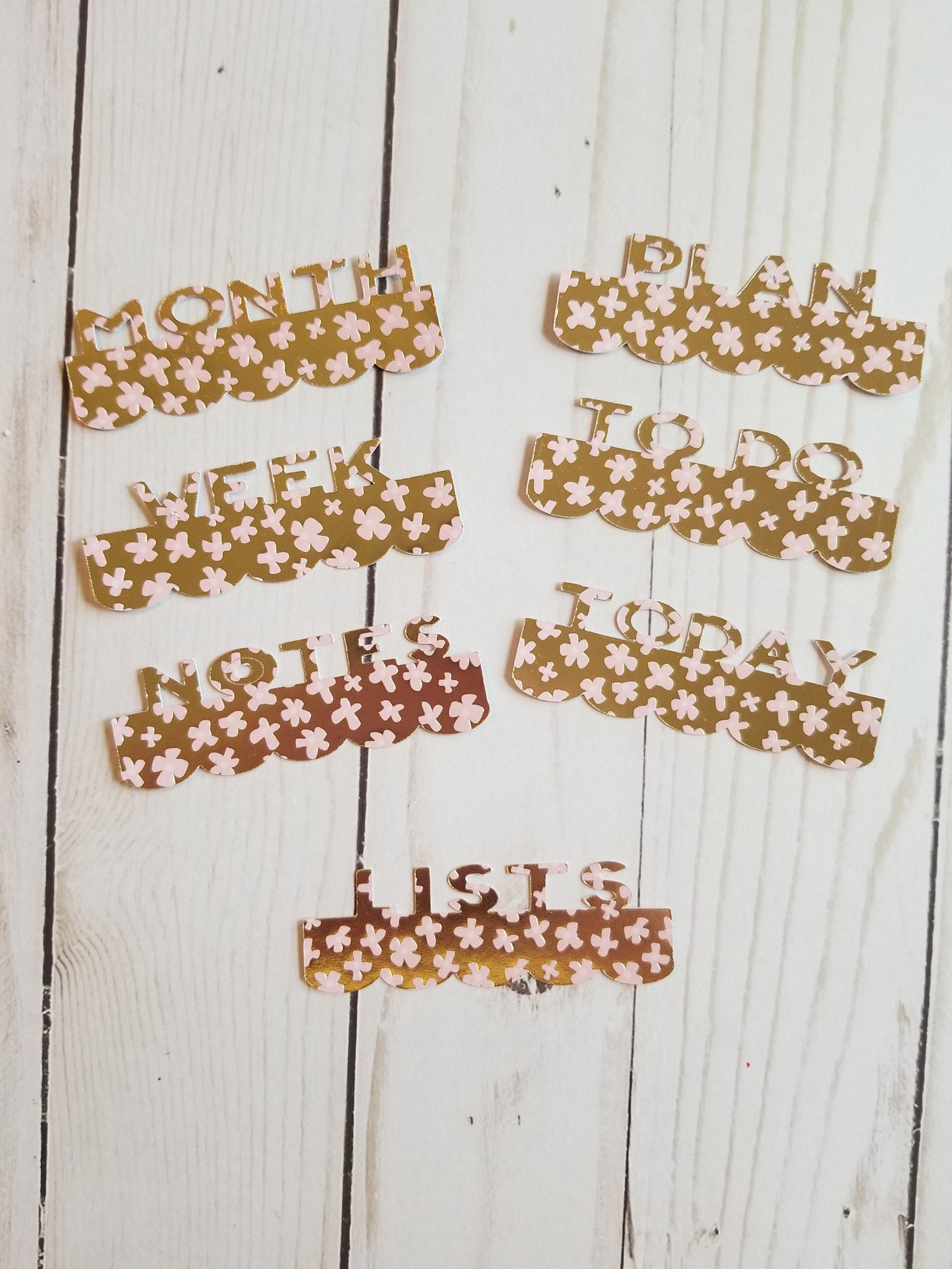 Page Toppers / Word Toppers / Page Marker or Dashboards Toppers / Word Tabs / Set of 7 Toppers / Gold with Pink Flowers