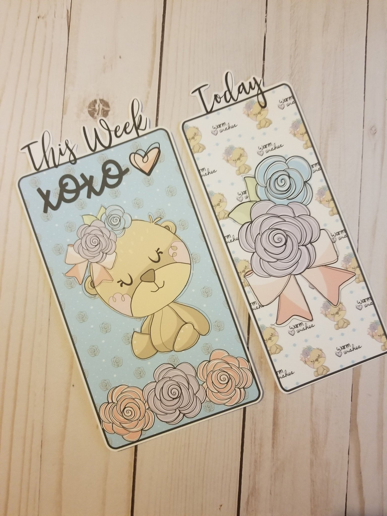 Floral Bear Travelers Notebook or Planner Bookmark / TN Bookmark / Planner Bookmark / Page Marker / TN Dashboard / Planner Dashboard