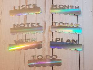 Holographic Page Toppers / Word Toppers / Page Marker or Dashboards Toppers / Word Tabs / Set of 7 Toppers / Tabs / Word Tabs