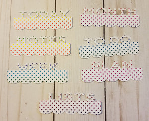 Rainbow Dots Page Toppers / Word Toppers / Page Marker or Dashboards Toppers / Word Tabs / Set of 7 Toppers   / Tabs / Word Tabs