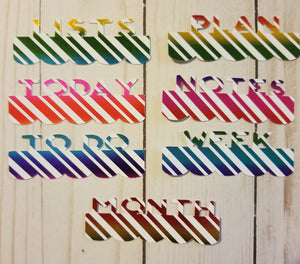 Metallic Rainbow Stripe Page Toppers / Word Toppers / Page Marker or Dashboards Toppers / Word Tabs / Set of 7 Toppers   / Tabs / Word Tabs
