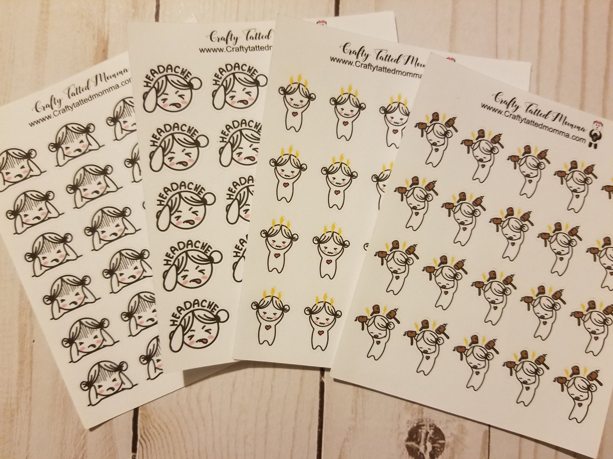 Lil' Mary Headache Stickers / Headache Stickers / Character Stickers / Planner Stickers  / Functional Stickers / Lil' Mary Stickers