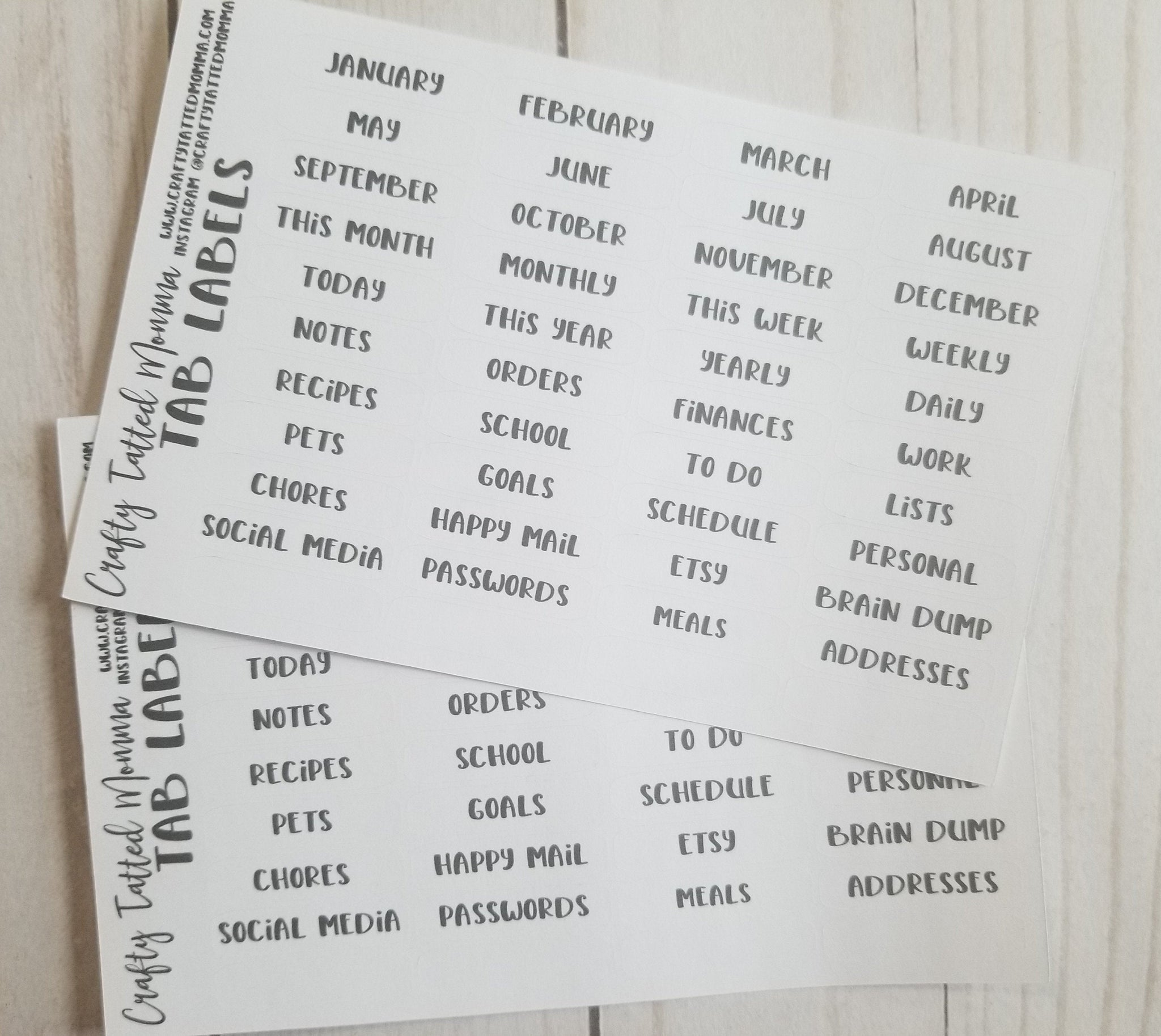 Tab Planner Labels / Planner Labels / Tab Labels / Label Stickers / Planner Tabs / Planner Stickers / TN Labels / Insert Tab Labels