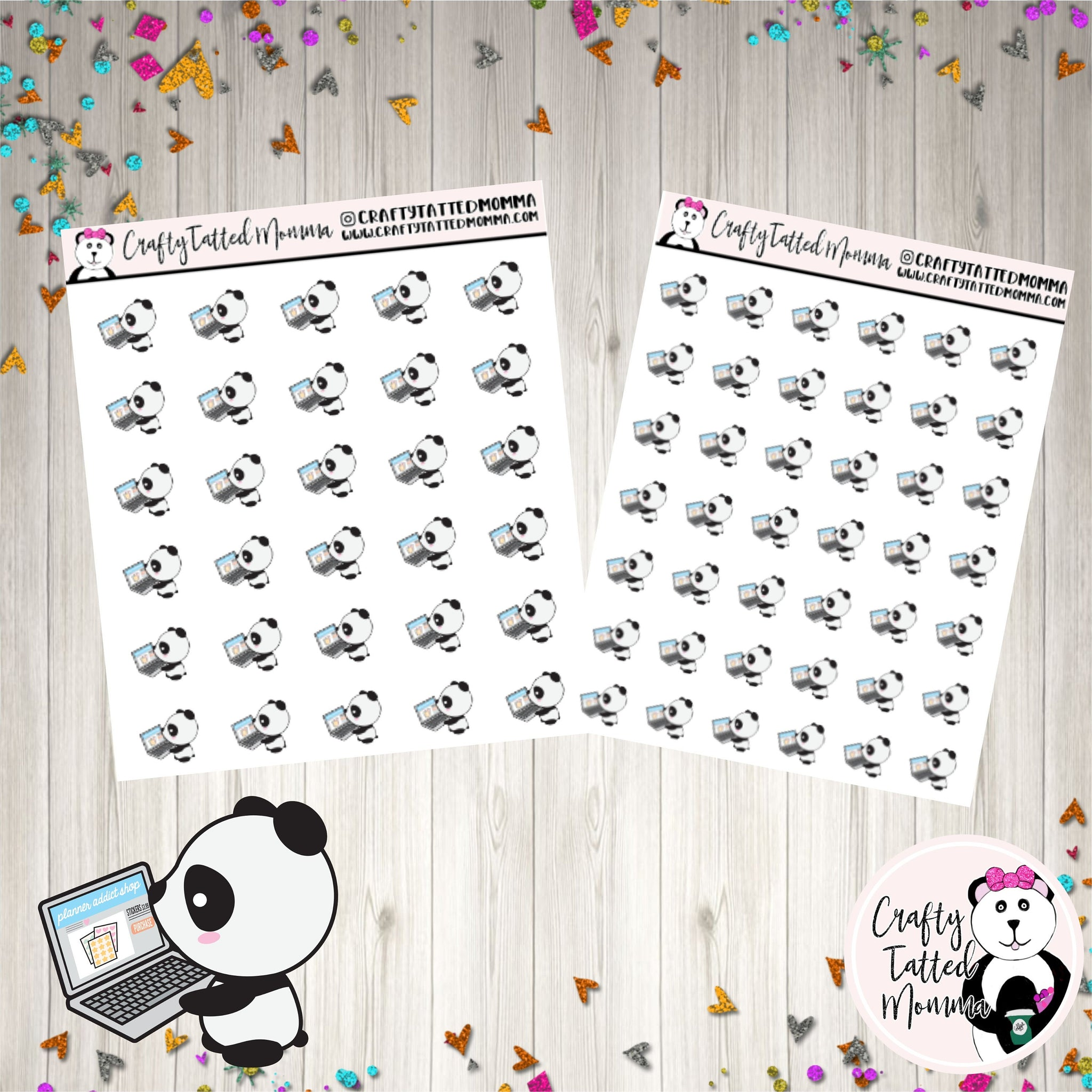 Zoe Online Shopping   Panda Stickers   Planner Stickers   Character Stickers   Shopping Stickers   Zoe the Panda   Buying Stickers   Functional
