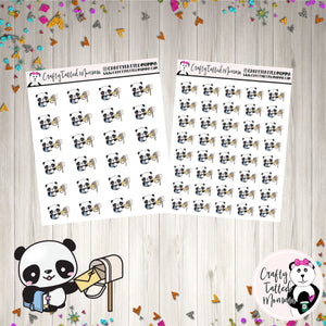 Zoe Sending Happy Mail   Panda Stickers   Planner Stickers   Character Stickers   Zoe the Panda   Functional Stickers   Happy Mail Stickers   Mail