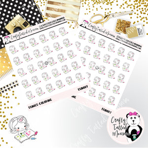 Eunice the Unicorn Coloring / Character Stickers / Planner Stickers / Crafting Stickers / Craft Stickers / Unicorn Stickers