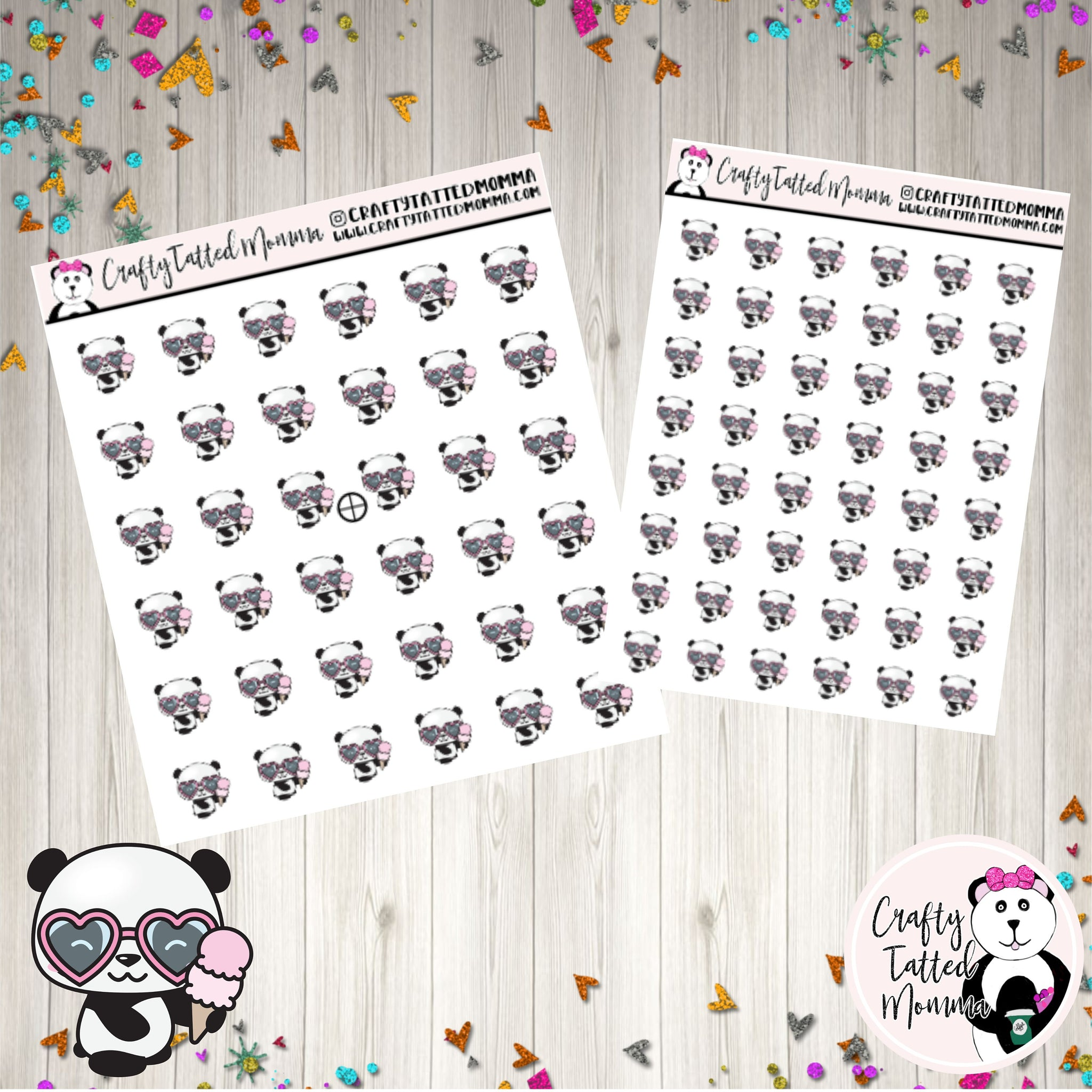 Zoe Eating Ice Cream   Panda Stickers   Planner Stickers   Character Stickers   Zoe the Panda   Functional Sticker   Ice Cream Sticker   Eating