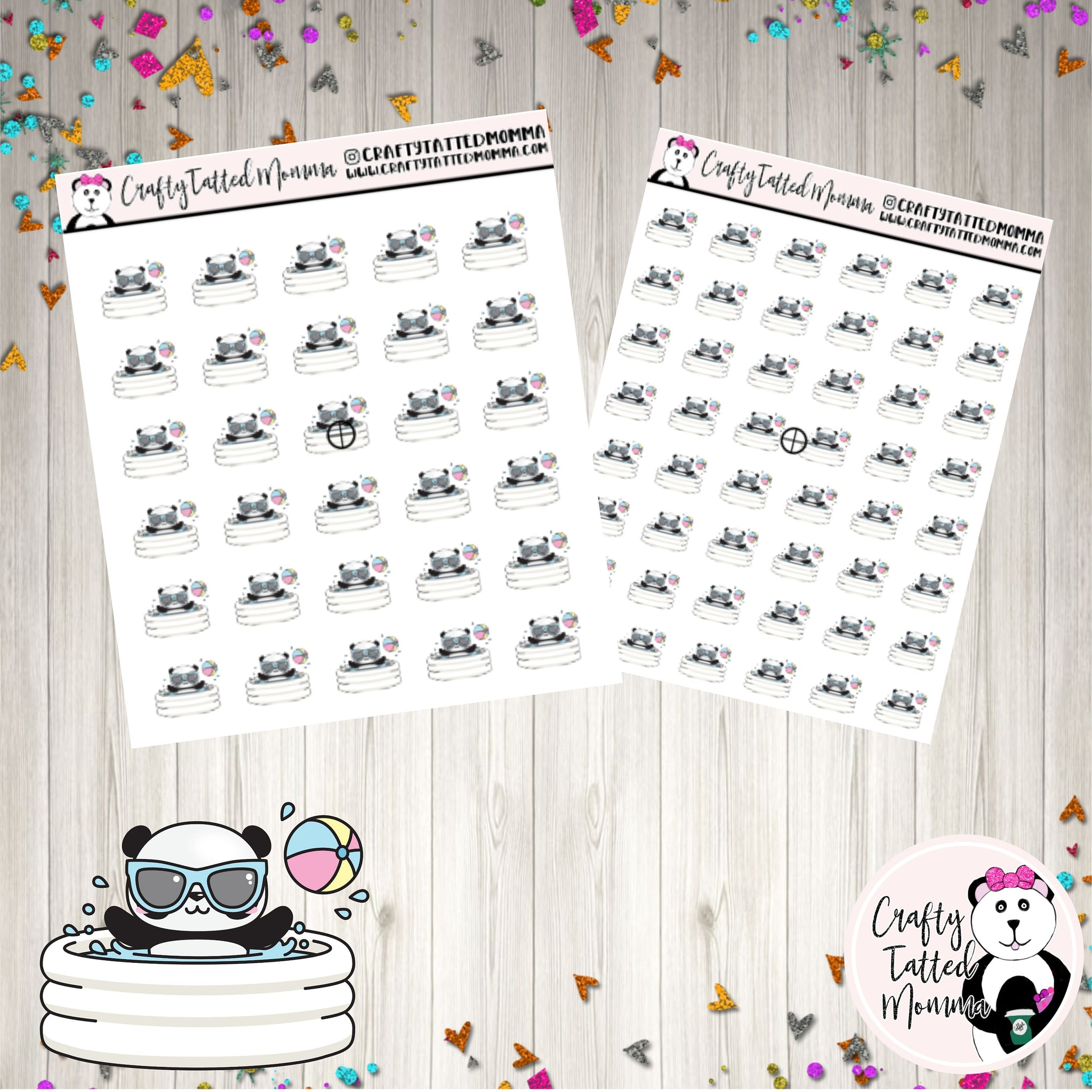 Zoe Swimming   Panda Stickers   Planner Stickers   Character Stickers   Zoe the Panda   Functional Stickers   Pool day   Pool Stickers   Summer
