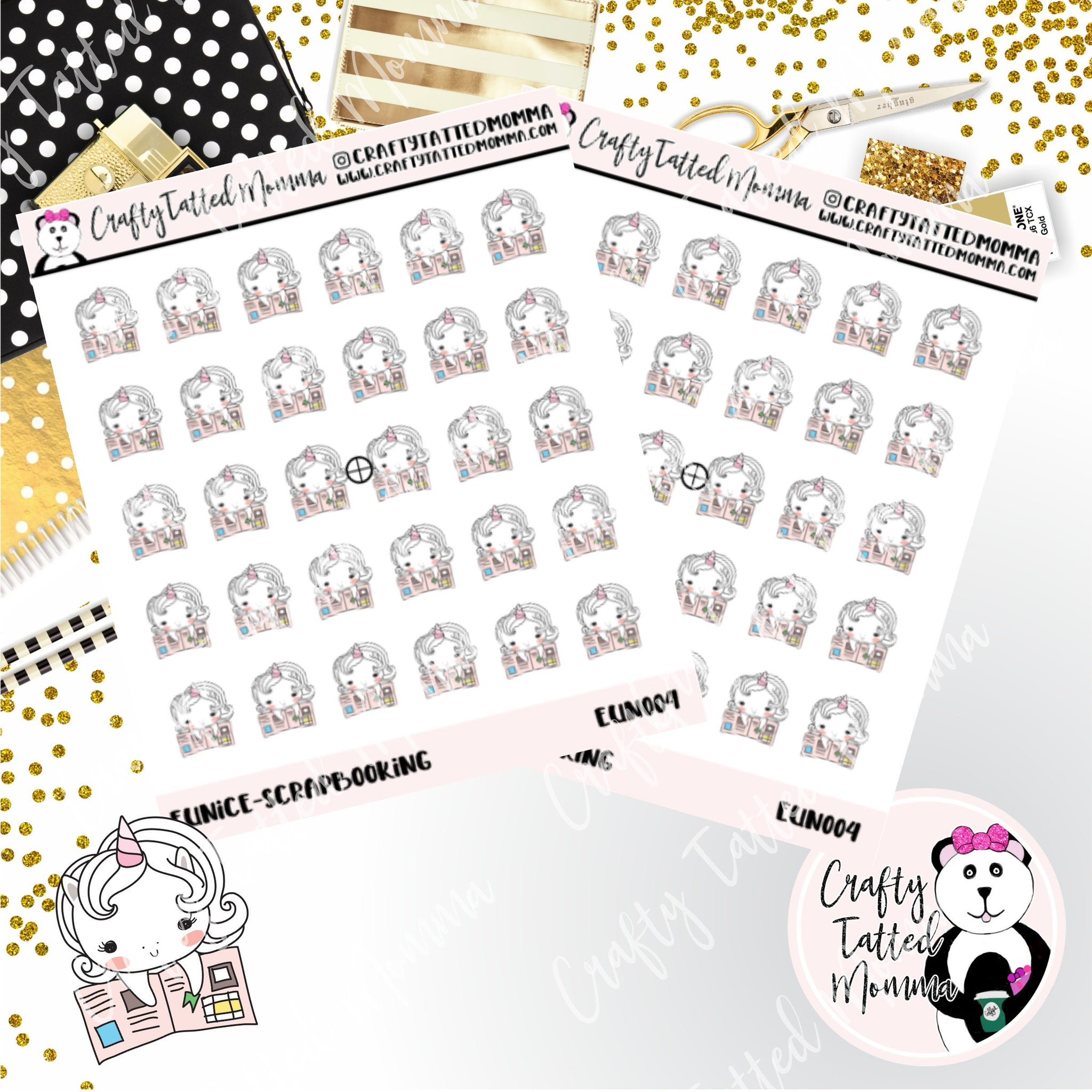 Eunice the Unicorn Scrapbooking / Character Stickers / Planner Stickers / Crafting Stickers / Craft Stickers / Unicorn Stickers