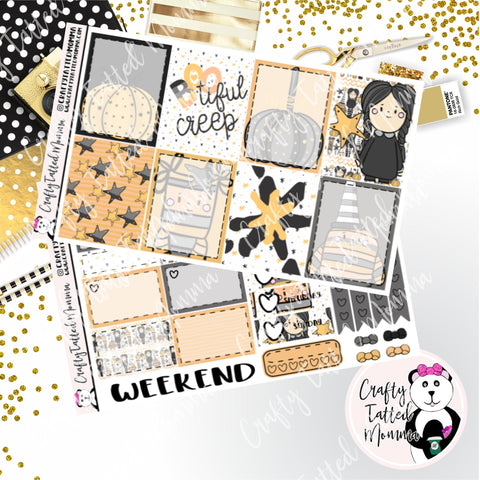 Bootiful Creep Weekly Planner Sticker Kit   Mini Weekly sticker Kit   EC Stickers   Traveler's Notebook Stickers   Planner Stickers   Weekly Kit