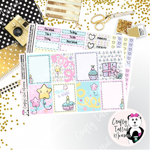 Kawaii Birthday Weekly Planner Sticker Kit / Weekly sticker Kit / EC Stickers / Traveler's Notebook Stickers / Planner Stickers / Miini Kit
