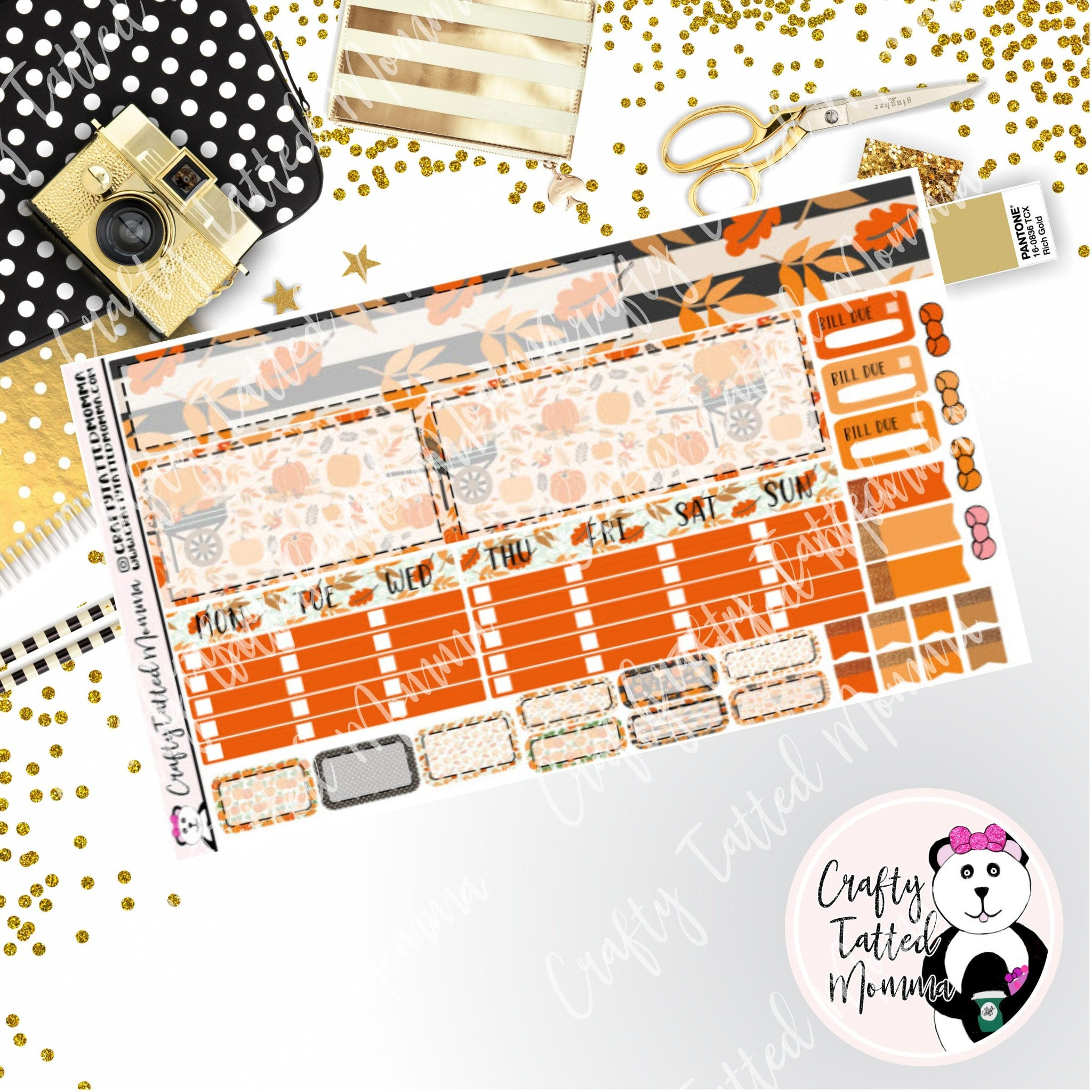 Pumpkin Spice Hobonichi Monthly Sticker Kit   Monthly Sticker kit   Hobonichi Weeks   Hobonichi Stickers    Sticker Kit   Monthly View