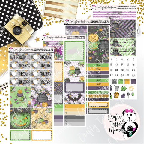 Green Halloween PP Weeks Weekly Sticker Kit   Mini Weekly Kit   Planner Sticker Kit   Weeks Planner Kit   Weekly Sticker Kit   Planner Stickers