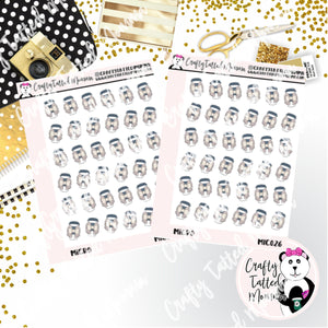 Gray Coffee Cup Micro Sticker Sheet   Mini Stickers   Planner Stickers   TN Stickers   Hobonichi Stickers   Functional Stickers   Micro Plan