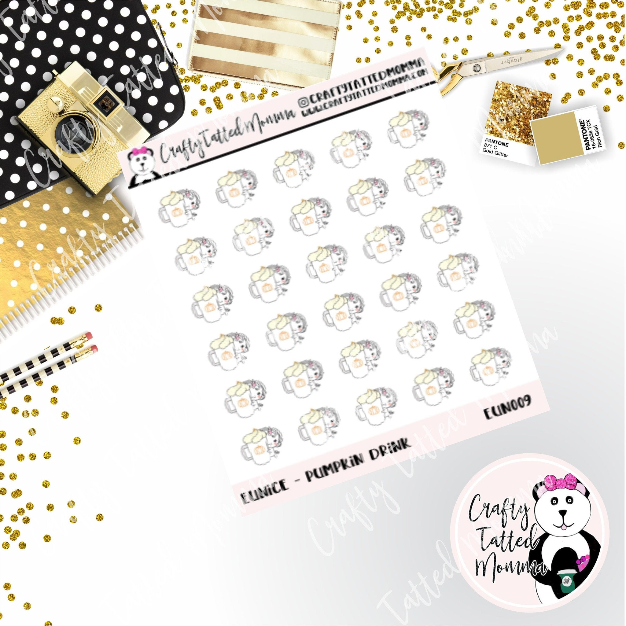 Eunice Showing off Her Pumpkin Latte   Character Stickers   Planner Stickers   Eunice the Unicron   Autumn Stickers   Pumpkin   Fall   Stickers