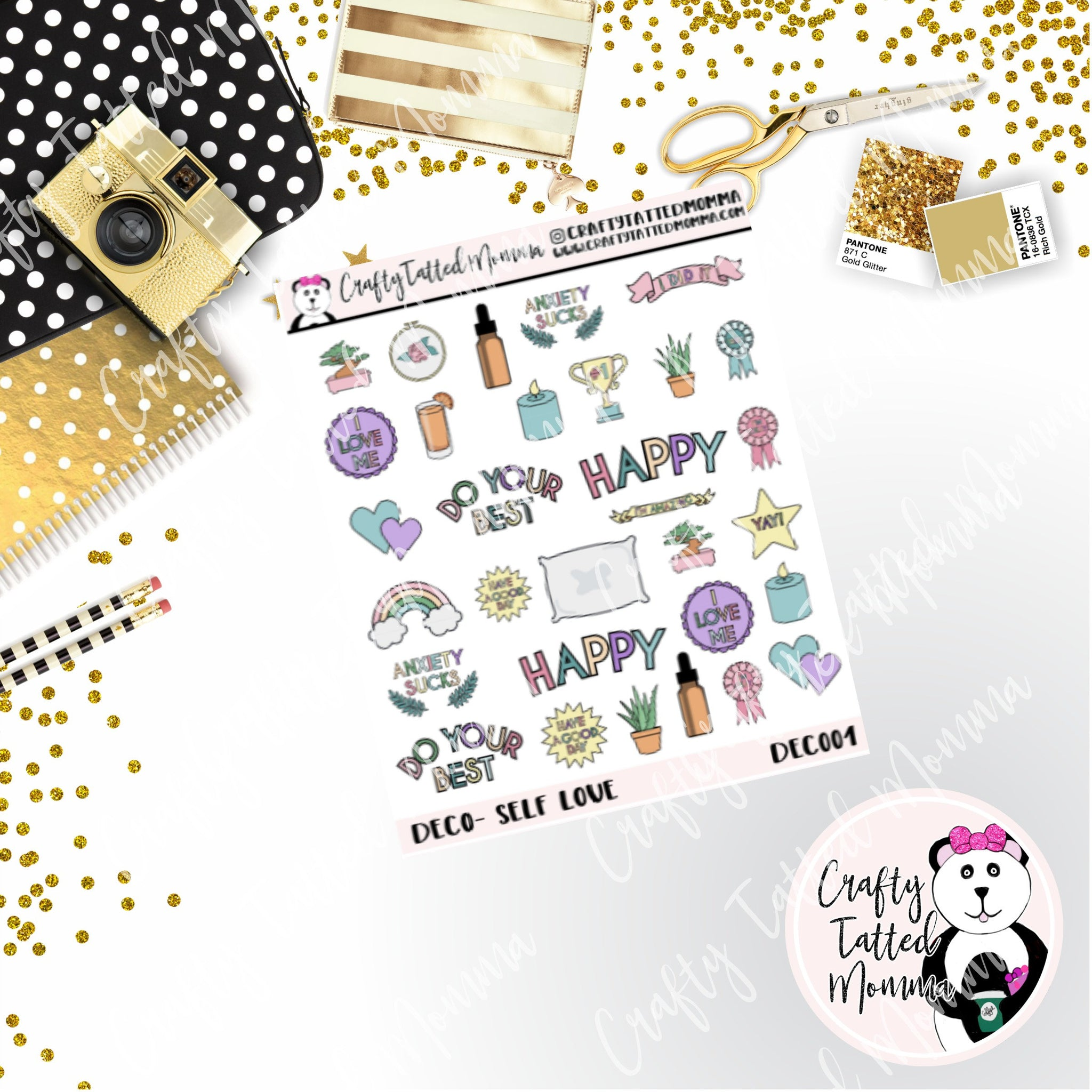 Self Care Deco Planner stickers   Deco Stickers   Planner Stickers   Decorative Stickers   Planner   Fits Any Planner