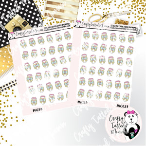 Pastel Coffee   Micro Sticker Sheet   Mini Stickers   Planner Stickers   TN Stickers   Hobonichi Stickers   Functional Stickers   Micro Plan