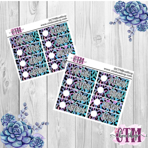 Blue/Purple Leopard Date Covers   Date Cover Stickers   Planner Stickers   Weeks Stickers   Date Stickers