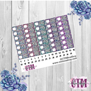 Leopard Blue and Purple Hobonichi Date Covers Stickers   Mini stickers   Planner Stickers   Hobonichi  Techno Weeks   Stickers  Date Covers  Days of the Week