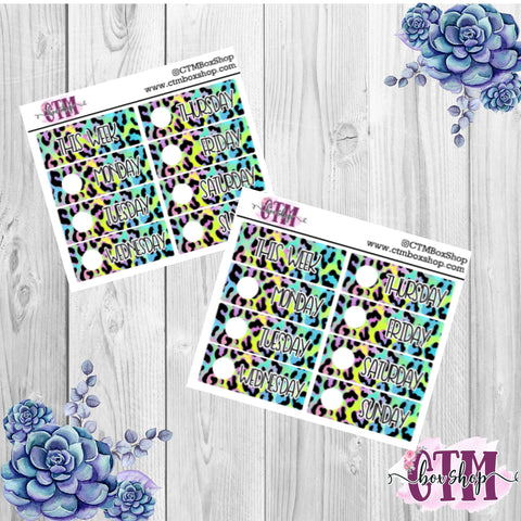 Green/Blue Leopard Date Covers   Date Cover Stickers   Planner Stickers   Weeks Stickers   Date Stickers