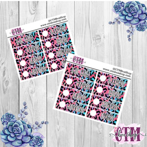 Pink/Blue Leopard Date Covers   Date Cover Stickers   Planner Stickers   Weeks Stickers   Date Stickers