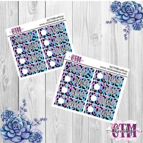 Purple/Blue Leopard Date Covers   Date Cover Stickers   Planner Stickers   Weeks Stickers   Date Stickers