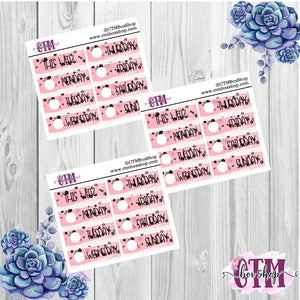 Light Pink with Black Glitter Splash Date Covers   Date Cover Stickers   Planner Stickers   Weeks Stickers   Date Stickers