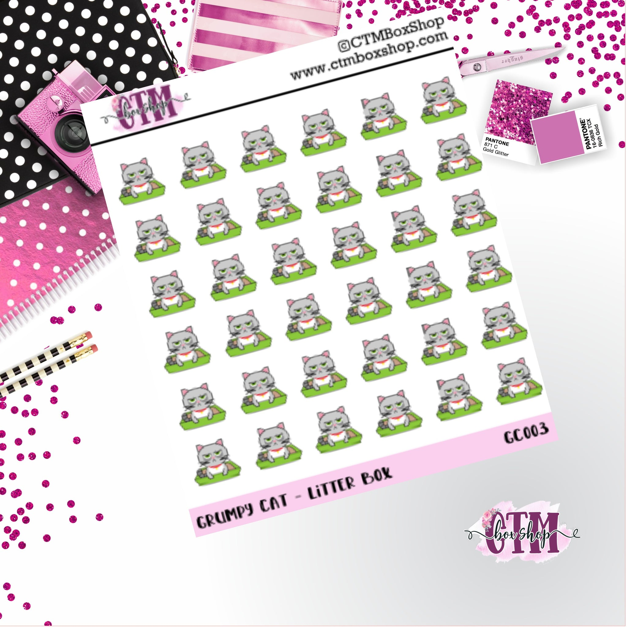 Grumpy Cat Litter Box  Grumpy Cat Stickers   Character Stickers   Planner Stickers   Functional Stickers   Deco Stickers