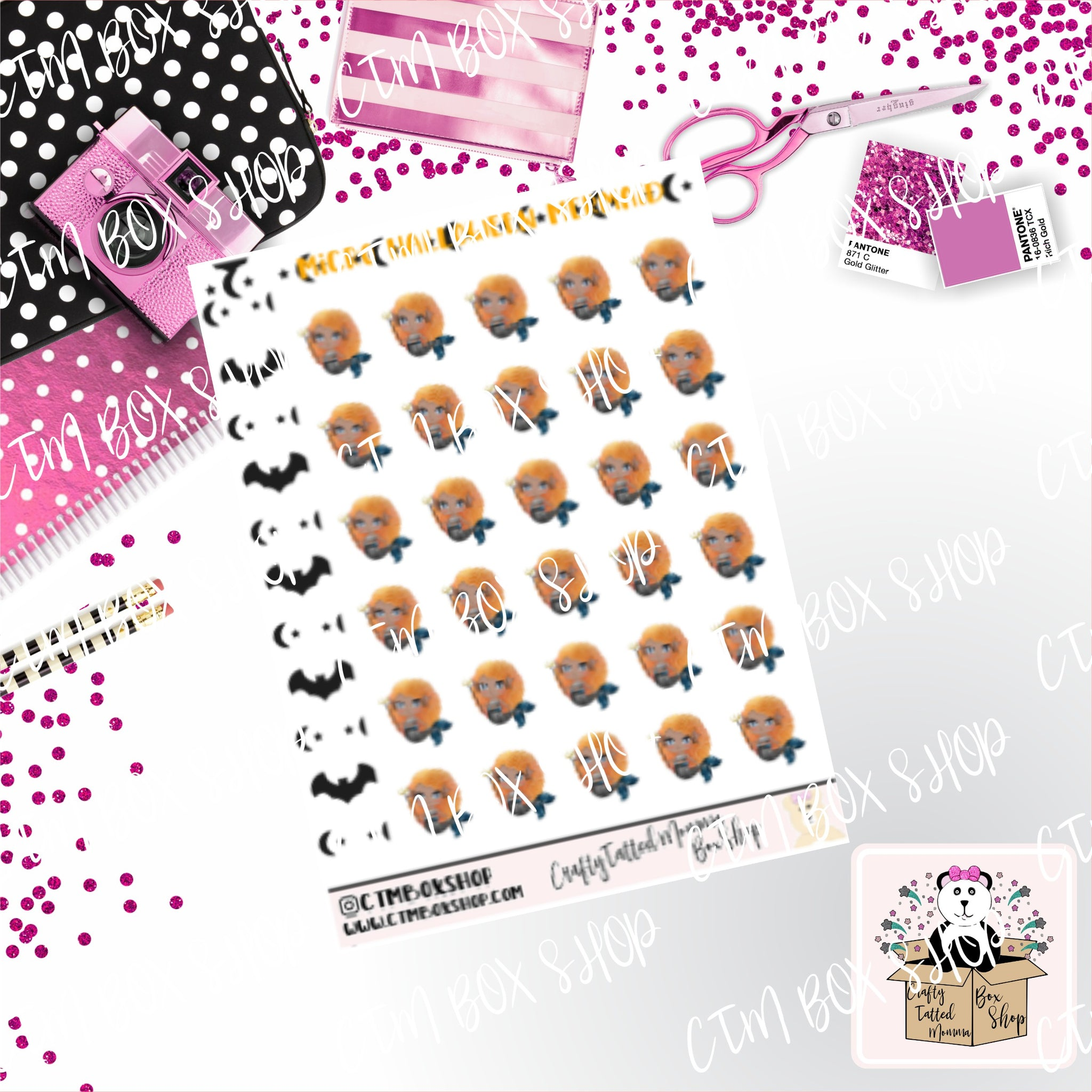 Micro Sticker Sheet   Lil Mermaids Halloween Pumpkin Queen   Planner Stickers   Halloween Stickers   Micro Planner Stickers