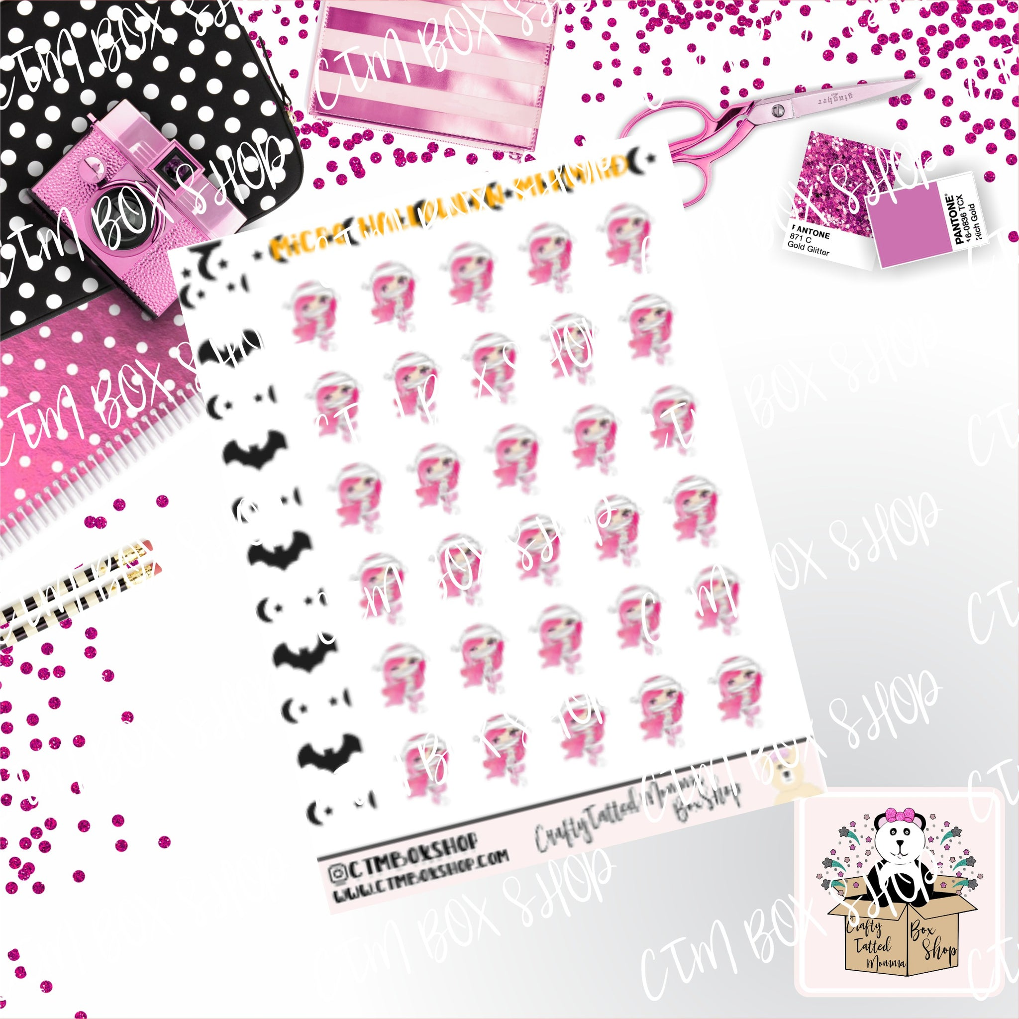 Micro Sticker Sheet   Lil Mermaids Halloween Mummy   Planner Stickers   Halloween Stickers   Micro Planner Stickers