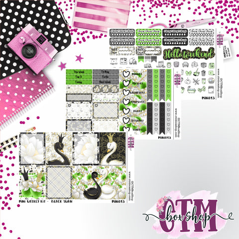 Black Swan Mini Weekly Kit, Planner weekly kit, B6 Kit, Planner kit, Planner Stickers