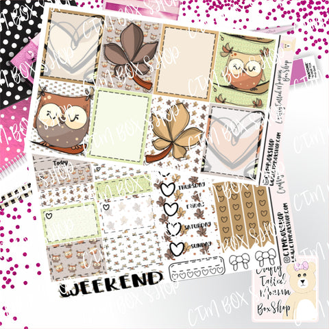 Owls Love Fall Weekly Planner Sticker Kit / Weekly sticker Kit / EC Stickers / Traveler's Notebook Stickers / Planner Stickers / Weekly Kit
