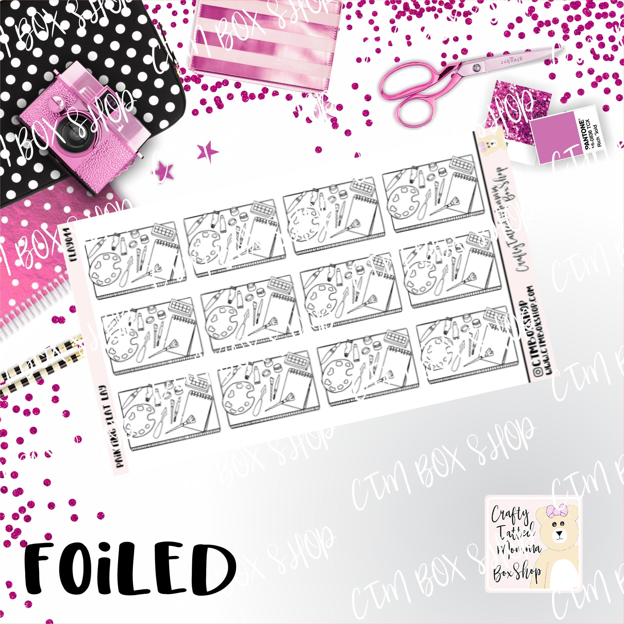 Foiled Painting Flat Lay Planner Stickers  / Painting Stickers / Foiled Stickers / Planner Stickers / Flat Lay Stickers