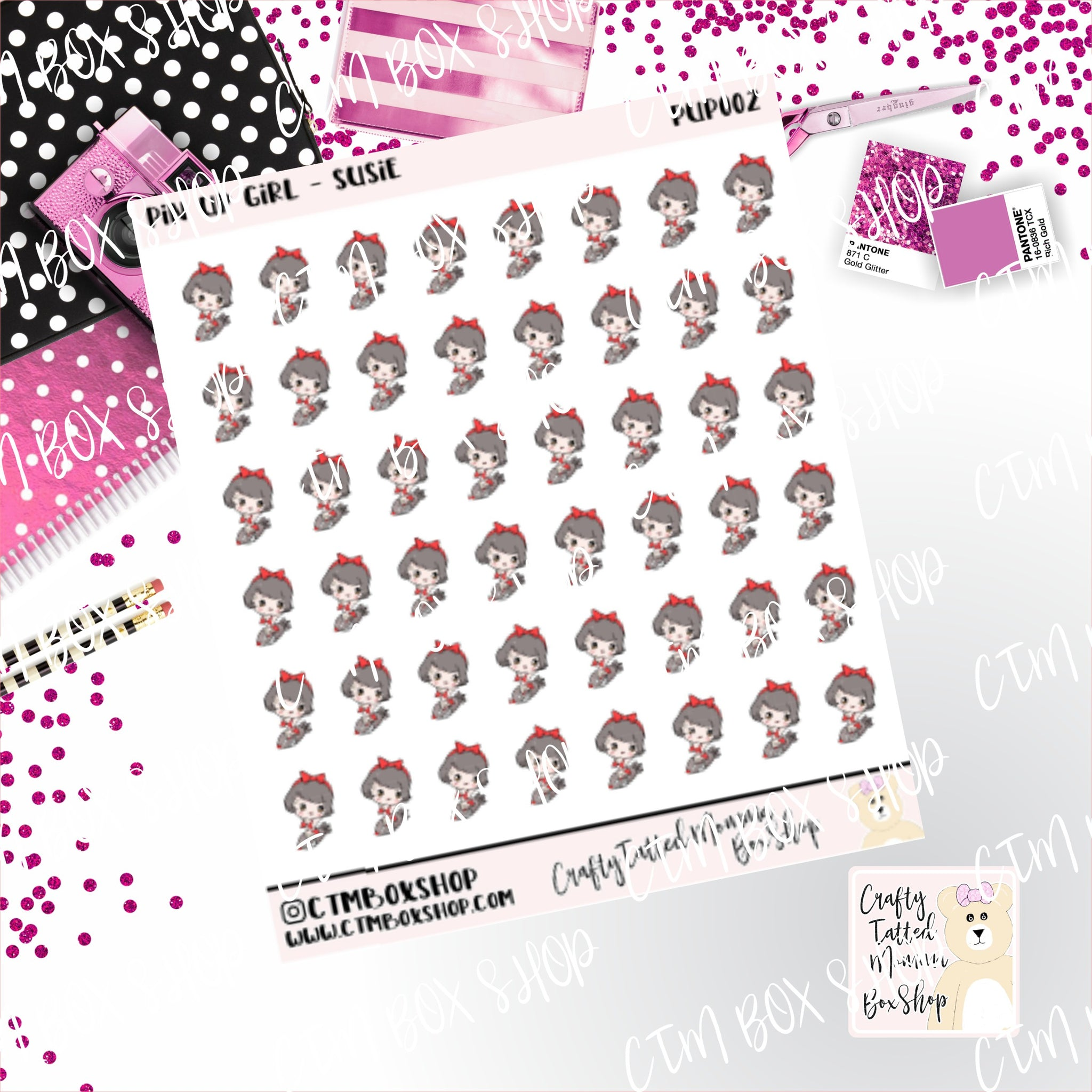Pin Up Girl on Rocket Stickers   Character Stickers   Planner Stickers   Functional Stickers   Deco Stickers