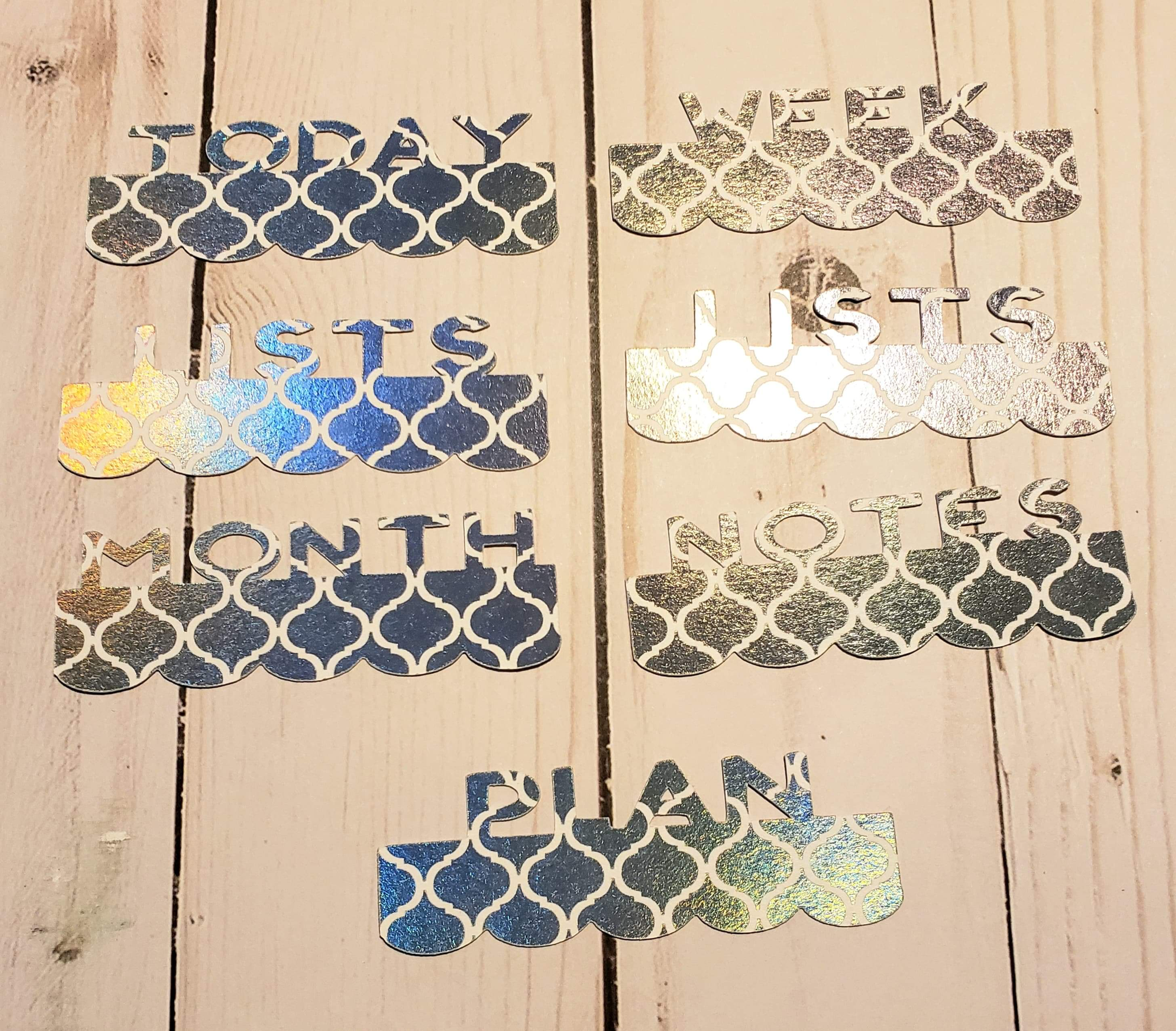 Page Toppers / Word Toppers / Page Marker or Dashboards Toppers / Word Tabs / Set of 7 Toppers / Pixie Holo and White