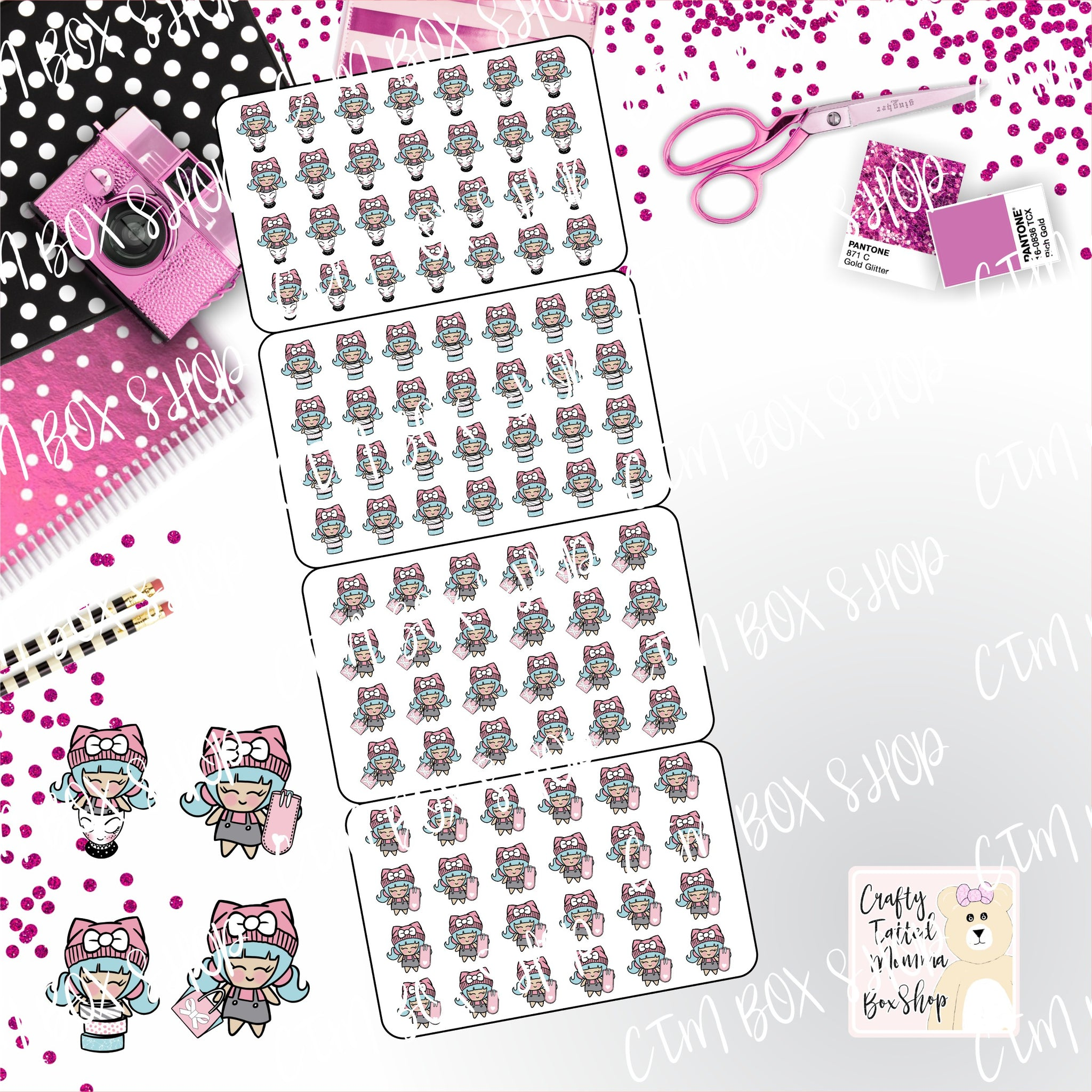 Planner Girl Fold up Stickers   Character Stickers   Planner Stickers   Functional Stickers   Folding Stickers   Deco Stickers