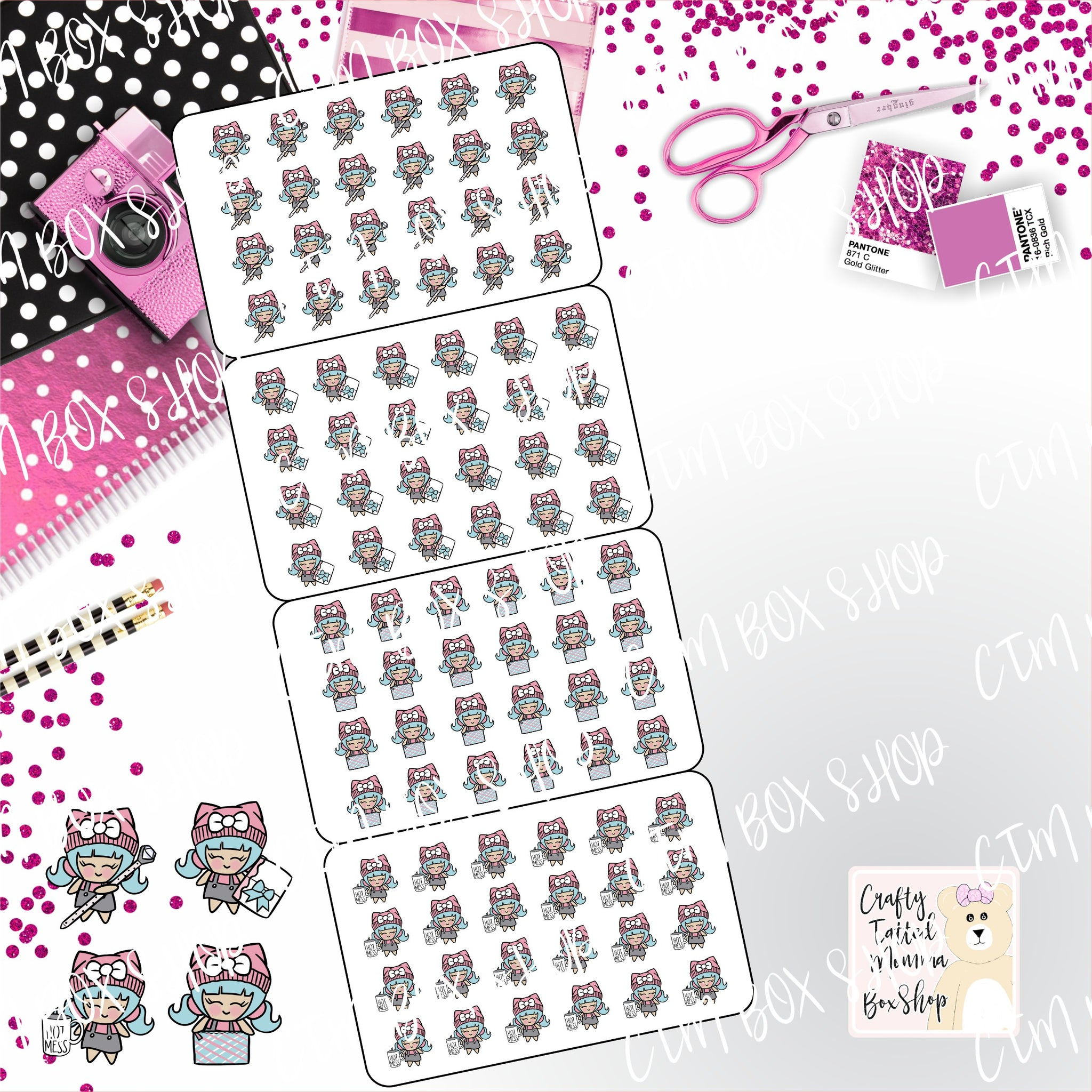 Planner Girl Set 2 Fold up Stickers   Character Stickers   Planner Stickers   Functional Stickers   Folding Stickers   Deco Stickers