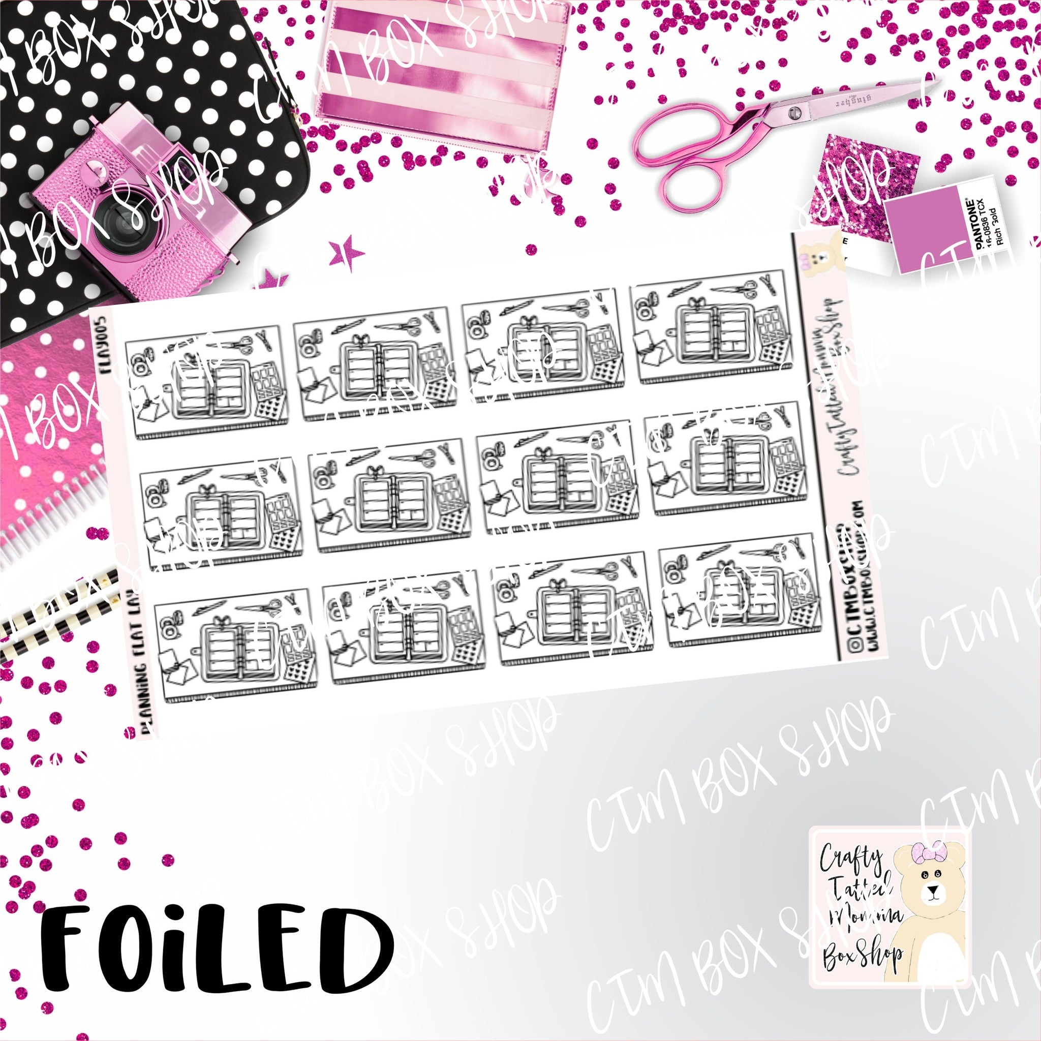 Foiled Planning Flat Lay Planner Stickers  / Planning Stickers / Foiled Stickers / Planner Stickers / Flat Lay Stickers